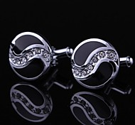 xinclubna® cristal noir et argent rondes hommes boutons de manchette (1 paire)