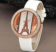 Frauen Runde Sache Eiffelturm Rhinestone-Kristallvorwahlknopf PU-Leder Mode Quarz-analoge Uhr (verschiedene Farben)