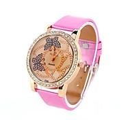 Coway Women's Round Dial Pink Leather Band Quartz Analog Wrist Watch
