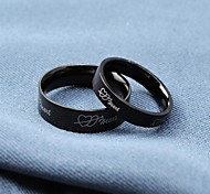 Popular Black Love Heart Titanium Steel Couple Rings