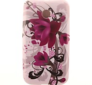 Ink Painting Flowers Design TPU Soft Case Cover for Moto E