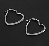 Fashion Simple 3.0CM Flat Peach Heart Shape Silver Stainless Steel Hoop Earrings (1 Pair)