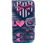Love Heart Pattern PU Leather Case with Card Holder and Stand for Samsung Galaxy I8160