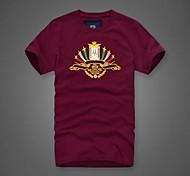 Men's Short Sleeve T-Shirt , Cotton Casual/Sport Print