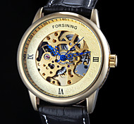 Men's Auto-Mechanical Elegant Skeleton Black Leather Band Wrist Watch (Assorted Colors)