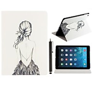 Beauty Backless Girl Pattern PU Leather Full Body Case with Stand and A Stylus Touch Pen for iPad Air