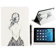 Motif Beauté dos nu fille cuir PU corps entier avec support et un Stylet tactile pour iPad Air