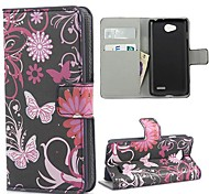 Blue Butterflies Pattern PU Leather Case with Stand and Card Slot for LG L70 D320