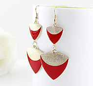 Lureme®Wholesale Jewelry New Design Elegent Gold Color Alloy Colorful Enamel Triangle Shape Long Drop Earrings