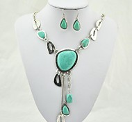 Vintage Look Tibetan Alloy Antique Silver Plated Turquoise  (Include Necklace and Earring) Jewelry Set (Green)