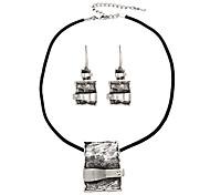 Rentangular Pendant Necklace & Earrings Jewelry Set(Random Color)