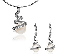 Arinna Fashion Jewelry Set Women 18k white gold Plated w swirl white pearls  Necklace Earrings Gift Set G1355#3