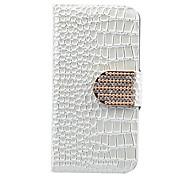 Zircon del oro del botón del cuero del cocodrilo para el iPhone 5 (colores surtidos)