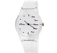 Children's English Pattern Transparent Rubber Band Quartz Wrist Watch Cool Watches Unique Watches