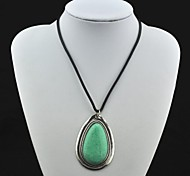 Toonykelly® Vintage(Water Drop)Tibet Alloy Antique Silver Turquoise Necklace(Green)(1 Pc)