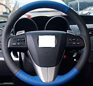 XuJi ™ Black Blue Genuine Leather Steering Wheel Cover for Mazda 3 2011-2013 Mazda 5 Mazda 6 Mazda CX7