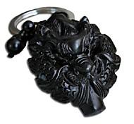 Sculpté Duo Ji Mi ® dragon Ebony main porte-clés en bois