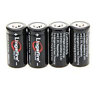 Lingsfire 1000mAh 16340 Akku (4 Stück) + 4 PC / Los-Hartplastik-Akku Aufbewahrungsbehälter für 16340 Akku
