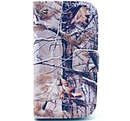 Grey Camo Tree Pattern PU Leather Case with Card Slot and Stand for Samsung Galaxy S3 mini I8190