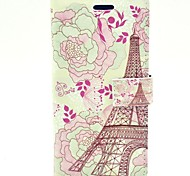 Lace Tower with Flower  PU leather Hard Case with Stand and Card Slot for HTC One M7