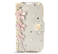 New Luxury Cherry Tassel Peral Rhinestone Leather Case with Stand for Samsung Galaxy Note 2 N7100
