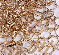 48PCS Mixs Pattern Golden Metal Nail Art Decorations