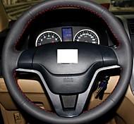 XuJi ™ Black Genuine Leather Steering Wheel Cover for Honda CRV CR-V 2007-2011