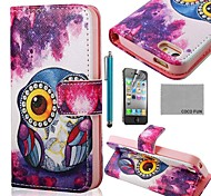 COCO FUN® Purple Purple Cute Owl PU Leather Full Body Case with Screen Protector, Stand and Stylus for iPhone 4/4S