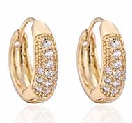 novo ouro 18k chegada das mulheres banhado venda quente elegante brincos zircão rodada
