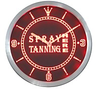 Spray Tanning hier offene Leuchtreklame LED-Wand-Uhr