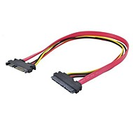 SATA3.0(7+15) 22Pin SATA Male to Female Data Power Extension Cable Red Color 0.3M 1FT