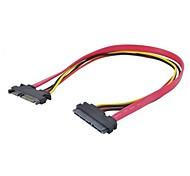SATA3.0 (7 + 15) sata 22pin macho a cable de extensión de potencia de datos femenino de color rojo 0.3 m 1 pie