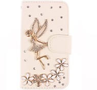 Rhinestone Handmade Bling Angel and Flower Design Leather Case for iPhone 4/4S