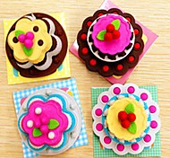 Cute Exquisite Birthday Cake Shaped Eraser Set(Assorted Style, 4-Pack)