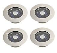 set di 4 esterno bianco in acciaio inox solare 1 LED mattone turno la lampada a terra della luce decking