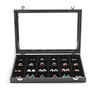 Classic 24 Sets Multifunctional Earrings Jewelry Buggy Bag Black Leather Paper Glass Flannelette Jewelry Boxes(1 Pc)