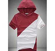 De cuello redondo Hombres sudadera con capucha de manga corta T-shirt