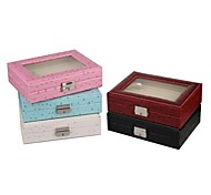Fashion Black Ostrich Faux Leather Jewelry Display Box for Cufflinks Rings Studs Pins 6 Colors Available