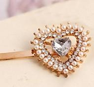 Peach Heart Korean Pearl Rhinestone Gold Frog Clip Barrettes