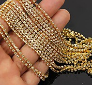 3.5Meters Golden Tone Clear Crystal Rhinestone Chain Line 3D Alloy Nail Art Decoration