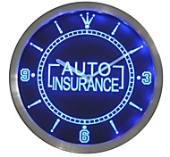 Auto Insurance Display Gift Neon Sign LED Wall Clock