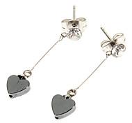 Mode kleinen Herzform diamanted Schwarz Apatit Ohrringe (1 Paar)