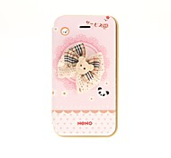 Korean Version Cloth Flowers Series Style Pink Bow Bottom Lace Winnie with PU Leather Full Body Cases for iPhone 4/4S