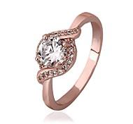18 k chapado en oro rosa anillo