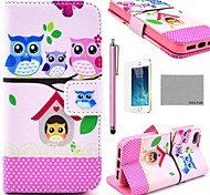 COCO FUN® Lovely Owl Family Pattern PU Leather Full Body Case with Screen Protector, Stand and Stylus for iPhone 5/5S
