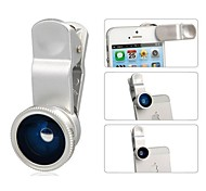 Kit 3-en-1 Micro objectif grand angle Fish Eye Camera Lens pour iPhone / Samsung (couleurs assorties)