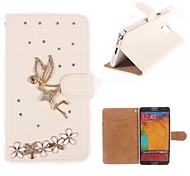 Rhinestone Handmade Bling Angel and Flower Design Leather Case for Samsung Galaxy Note3 N9000