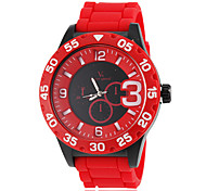 Men's Sport Style Colorful Dial Silicone Band Quartz Wrist Watch (Assorted Colors)
