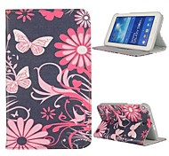 Blumen Folio Stand Auto-Sleep / Wake up Ledertasche für Samsung Galaxy Tab 3 lite t110