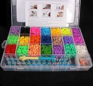 BaoGuang®Loom Bands Random Color Bands Set(4200pcs Rubber Bands,4 Package S Clips ,1Looms ,3 Hook+1Box)